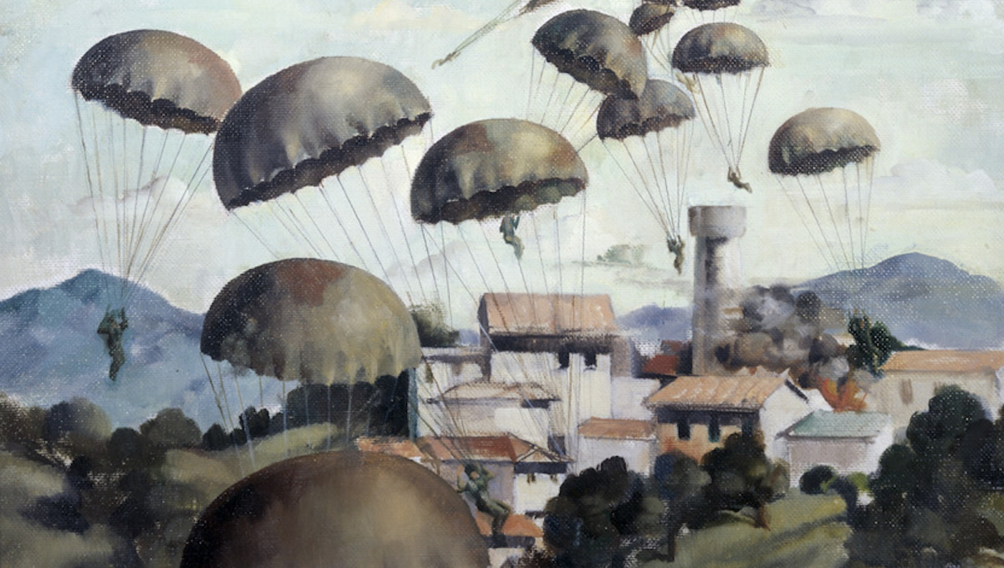 """Paraschutists landing on Galatsos"", Peter McIntyre, Courtesy of New Zealand Archives; Department of Internal Affairs, National Collection of War Art"